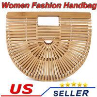 Bamboo Handbag Women's Beach Ark Bag Bamboo Purse Clutch Wooden Ark Bag LS