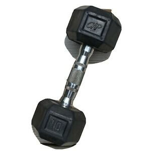 10lb CAP Dumbbell Rubber Hex Weight Black and Chrome (ONLY ONE, 1)