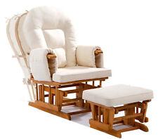 Entspannungsstuhl Schaukelsessel GLIDER Relax Sessel Natur Polster Creme Hocker