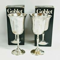 Vintage Silver Plated Wine Goblets Leonard Silver Mfg. w Box #816 1979 Lot of 2