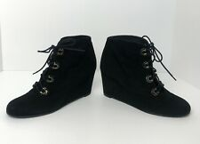Stuart Weitzman Black Suede Wedge Lace Up Booties Boots 9 Worn Once