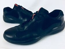 Prada Men's Black Nylon Patent Leather Low Top Sneakers SZ 7 Fits Like US 10 EUC