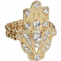 NEW Goldtone Pave Clear Round Crystal Protective Hamsa Hand Symbol Stretch Ring