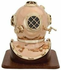 Brass & Copper Plating Diving Helmet U.S Navy Mark IV Scuba With Wooden Base