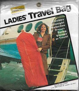 Vintage Ladies Travel Garment Bag Brown Plaid Vinyl Interio 24 x 54 x 3