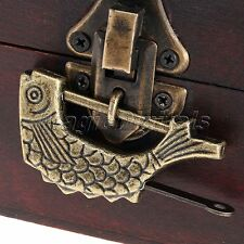 Vintage Fish Carved Chinese Old Style Lock Padlock + Key for Jewelry Chest Box