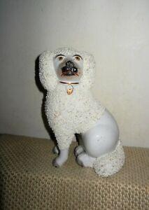 "Antique Staffordshire Confetti Fur Dog Figurine Separate Paws Signed -7""H, Rare"