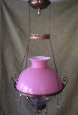 "ANTIQUE VICTORIAN HANGING OIL/KEROSENE LAMP w/ PINK ""CASED"" SHADE & GLASS FONT"
