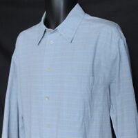 Ermenegildo ZEGNA Long Sleeve Shirt Men's XL Blue/Brown/White Check Cotton Italy