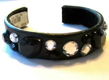 faux leather rhinestone Vguc Jeweled Cuff bracelet black