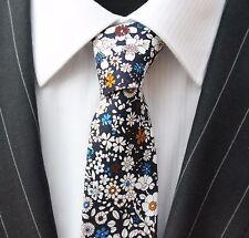 Tie Cravatta Slim Blu Scuro Con Bianco Blu & Marrone a fiori cotone di alta qualità T6109