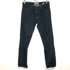 Naked & Famous Men's button fly super guy jeans 31 green core selvedge dark wash