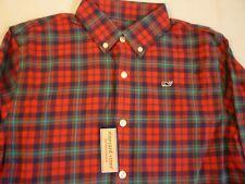 VINEYARD VINES Holiday Plaid Flannel Shirt Kid's M 12-14 New With Tags FREE SHIP