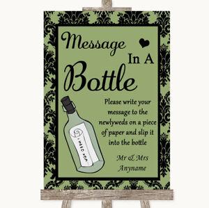 Wedding Sign Poster Print Sage Green Damask Message In A Bottle