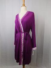 Alfani Essentials Sleepwear, Lace Trim Wrap Robe Autumn Plum Purple Medium #6241