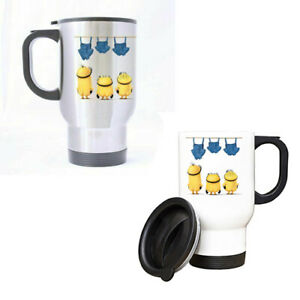 Minions Silver White Stainless Steel Travel Coffee Mug 14 oz Fits car holders