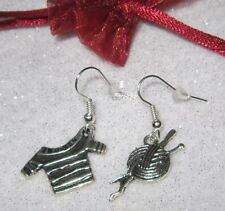 Cute knitting knitter lady charm earrings wool and needles, jumper, lovely gift!