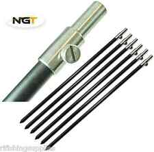 6 x 30-50CM CARP FISHING ALI BANK STICK AND STAINLESS TOP BLACK MEDIUM BANKSTICK