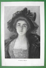 ENIGMATIC BEAUTY Manon Fancy Hat Dress - VICTORIAN Era Original Engraving