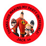 48 Personalised Party Bag Stickers The Incredibles Sweet Bag Seals 40mm Labels