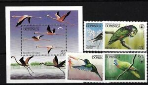 DOMINICA SG870/3 + MS874, 1984 BIRDS, COMPLETE MNH