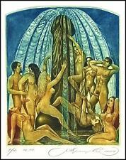 Kirnitskiy Sergey 2004 Exlibris C4 Fountain Erotic Erotik Nude Woman Sex 78