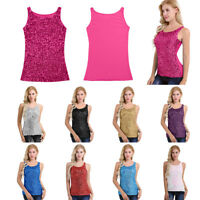 Women Sparkle Glitter Sequin Sleeveless Tank Tops Vest Cropped T Shirt Blouse