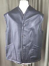 """Black Leather Waistcoat Jerkin Gilet Biker - L (upto C46"""") WW2 Dispatch Style"""