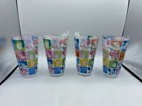 NEW SET OF 4 DISNEY STORE EXCLUSIVE DRINKING GLASSES PLASTIC CHARACTER FACES
