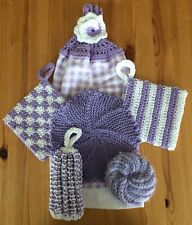 Crochet Kitchen Towel Gift Set - 6 Pieces - Violet And White
