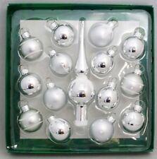 "Silver Tree Topper Mini Ornament Set 15 Ball Finial Glass 1.25"" Kurt Adler"