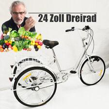"""Traditionelle 6-Gang-Schaltung 24 """"3-Rad-Dreirad für Erwachsene Silber mit Korb"""