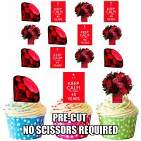 PRECUT 40th Ruby Wedding Anniversary 12 Edible Cupcake Toppers Cake Decorations