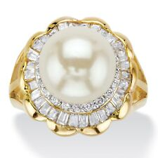 2.50 TCW 14k Gold-Plated Simulated Pearl and Cubic Zirconia Scalloped Ring