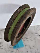 Vintage antique timber wooden fishing hand reel 17cm diameter x 3.6cm deep