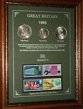 Enmarcado 1969 moneda sello conjunto (Retro 49th Regalo de Cumpleaños Boda Aniversario De Regalos