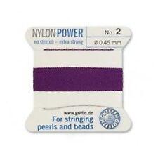 Amatista púrpura Nylon Potencia sedoso Hilo 0,5 mm Encordar Perlas Griffin 3