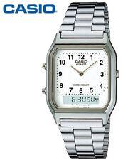 AQ-230A-7B Casio Watch Dual Time Silver Analog Digital Steel Band. TIOV