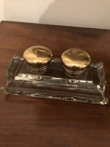 Vintage Heavy Glass Double Inkwell With Hinged Brass Lids Marked With Patent