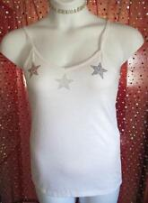 AVIVA JUNIOR PLUS SZ XL CUSTOM RHINESTONE STAR TANK TOP WHITE NWOT