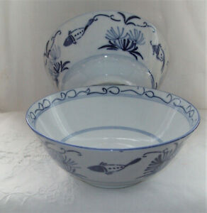 Blue & White Chinese 2 Bowls Hand-painted Fish & Seaweed H7.5cm - W18cm