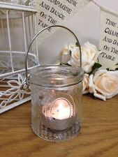 Vintage Style Glass Tea Light Holder Embossed Hanging Jars Wedding Decoration