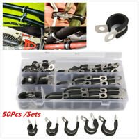 50Pcs/Set Cable Clamps 1/4-in 1-in 3/8-in Rubber Cushion Insulated Metal Clamp