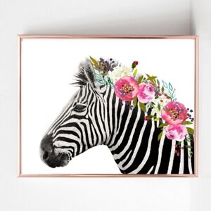 zebra print PICTURE flower garland WALL ART A4  unframed 22 landscape