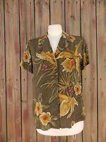 Jones New York Blouse Short Sleeve 100% Silk Brown W/Floral Print Women's Size 8