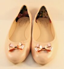 a9a1363b66b4c9 Ted Baker Pink Leather Imme 2 Bow Ballerinas Womens Size US 7.5M