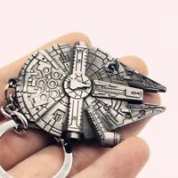 New Star Wars Spaceship Millennium Falcon Silver Metal Keychain Keyring Gift