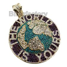 Yours Large Bling Rapper'S Charm Pendant Hip Hop Iced The World Is