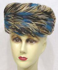 "Vintage Ladies Hat Blue Brown FEATHERS WOW! 1960s 7 3/4"" diameter Stunning !"