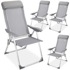 Set de 4x sillas de jardín de aluminio Gris 60x109 cm plegables